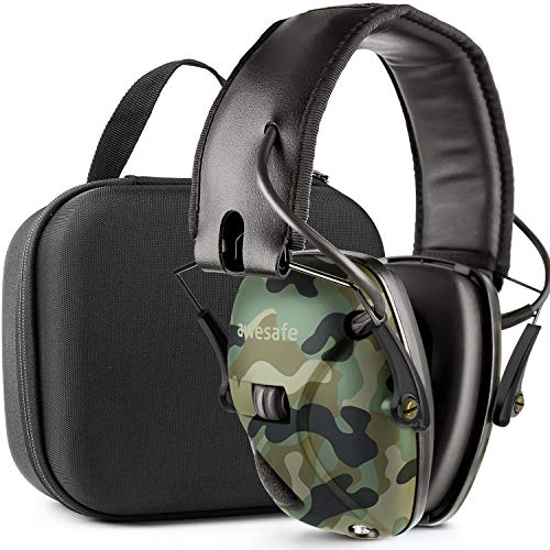 awesafeus Ear Protection for Shooting Range, Electronic Hearing Protection for Impact Sport, Safety Ear Muffs, NRR 22, Ideal for Shooters and Hunting with Travel Storage Carrying Case Bag Camo