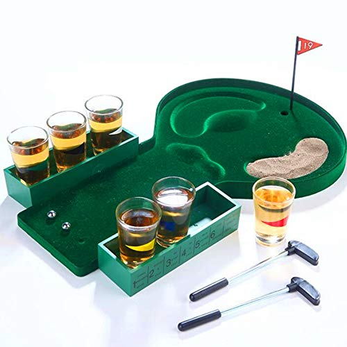 Desktop Mini Golf Drinking Club Bar Game + Glass Cups Shot Putter Miniature Kit,Bar Game Mini Golf Promotional Wine Bar Counter Toys