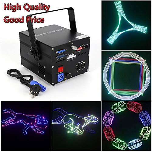 Stage Laser Lights, 30W RGB 3D ILDA Laser Show Light 12CH DMX512 Animation DJ Bar Stage Light DMX/AUTO/Sound Projector Full Color Analog Sign Stage lamp Effect Lights, USA STOCK