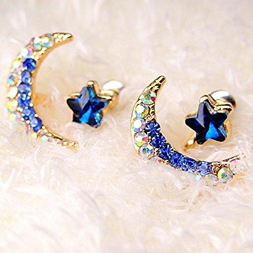 Sumanee Women Girl Yellow Gold Filled Moon Star Shape Crystal Rhinestones Stud Earrings