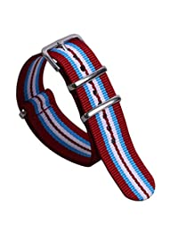 20mm Red/Light Blue/White Luxury Exquisite Colorful Men's One-piece NATO style Nylon Watch Bands Straps