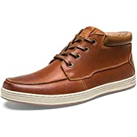 SHENBO Men's High Tops Retro Genuine Leather Fashion Sneakers