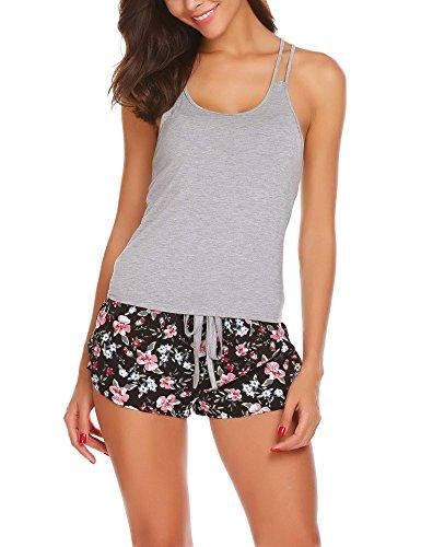 Dozenla Womens 2 Piece Short Pajamas Set Slim Print Camisole Sleepwear Cami Vest and Elastic Knickers Nightwear Gray Large (Womens Sleepwear Cami)