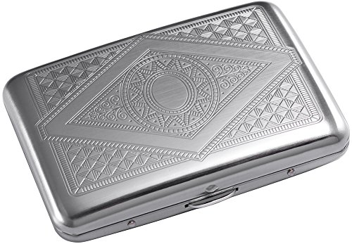 RFID Blocking Credit Card Holder/Protector - Best Metal Travel Wallet/Case for Men & Women(Silver Stainless Steel)