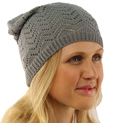 Ladies Chevron Vented Soft Knit Long Beanie Slouchy Slouch Skull Hat Cap Gray ()