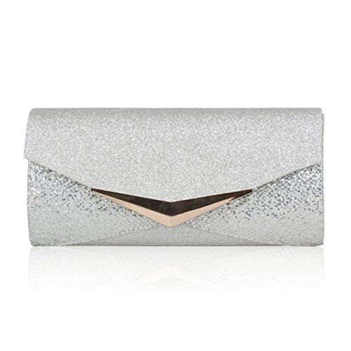 Metal Triangle Bride Women Handbag Silver Hem Flap Damara Glitter SvnCwPTqx