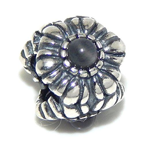 Pro Jewelry .925 Sterling Silver June Moonstone Birthstone Flower Charm Bead for Snake Chain Charm Bracelets