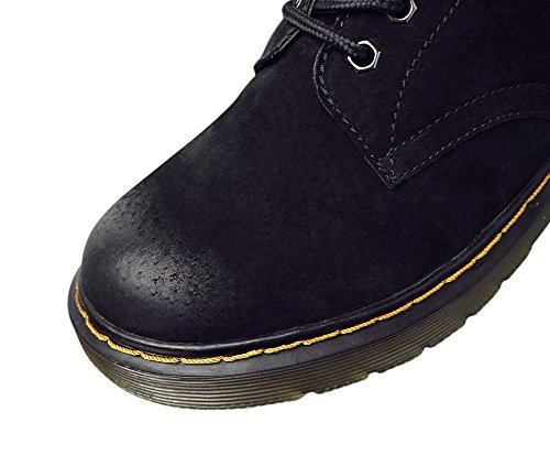 Genda 2Archer Womens Leather Lace-Up Winter Warm Lined Martin Boots Black Y9pJ2