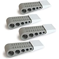 Door Stopper by KROM - The Original Wedge Door Stopper - 4 Pack with Free Decorative Holders - Heavy Duty Premium Rubber…