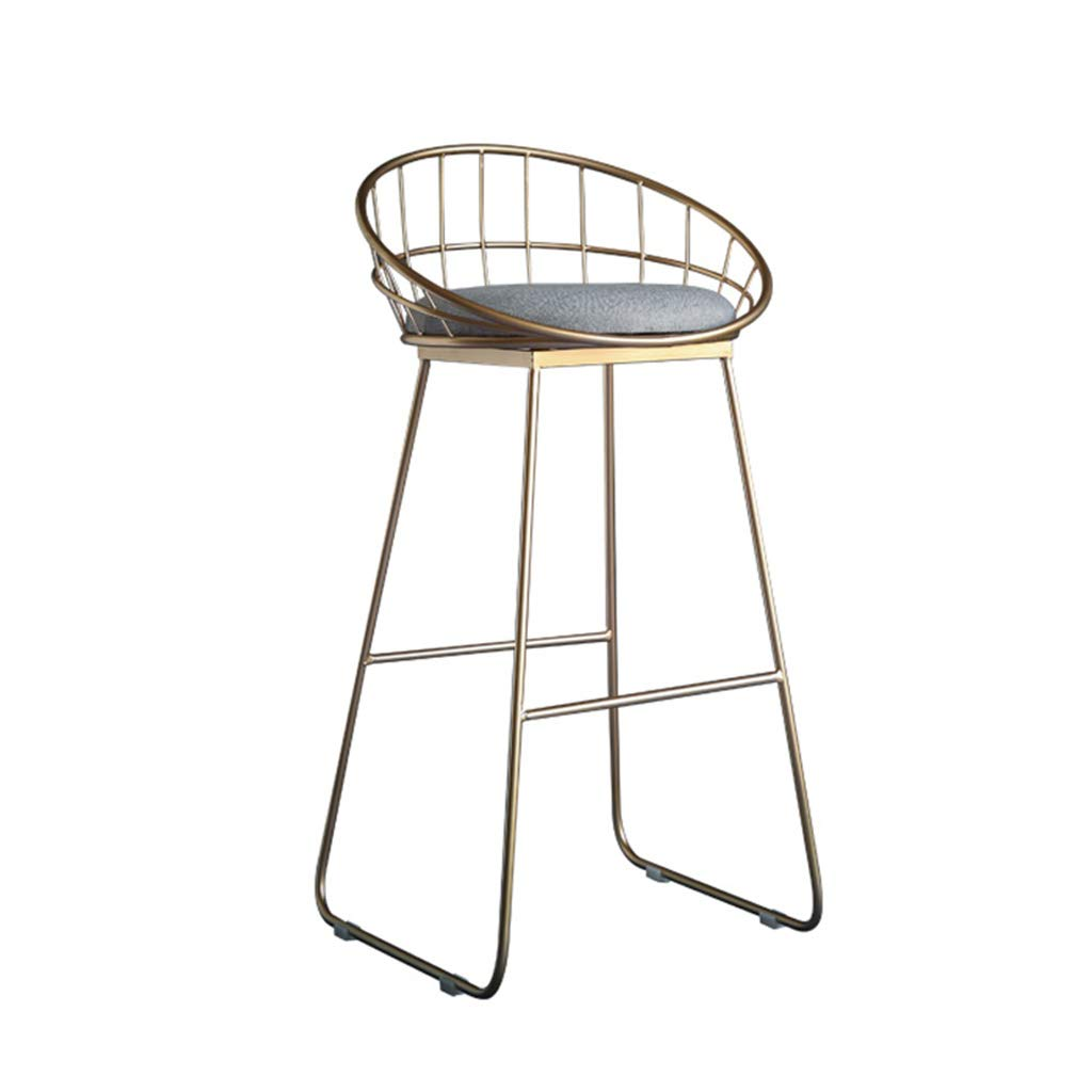 A 45CM SYF Modern Bar Stool Metal Frame Safety Cushion Seat Kitchen Bar Breakfast Dining Chair Counter Seat A+ (color   A, Size   45CM)