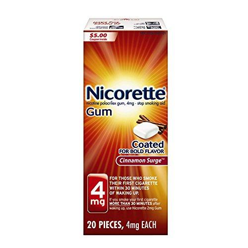 Nicorette Nicotine Gum Cinnamon Surge 4 milligram Stop Smoking Aid 20 count