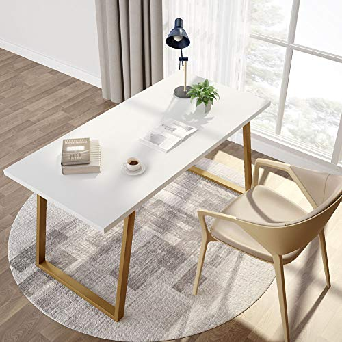 Tribesigns 55'' White Writing Desk, Minimalist Computer Desk with Slanted Gold Metal Frame, Simple Style Study Laptop Table for Home Office (White+Glod) by Tribesigns (Image #2)