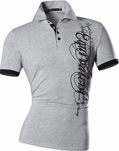 jeansian Herren Freizeit Slim Fit Short Sleeves POLO T-Shirts D403 Gray XL [Apparel]