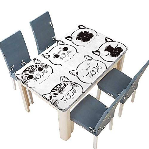 PINAFORE Tablecloth Vector Set of Drawing cat face Isolated on White Background Table Top Cover W57 x L96.5 INCH (Elastic Edge)