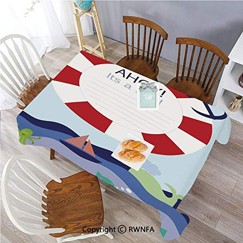 Polyester Washable Table Cover Announcement Card Inspired Composition Maritime Funny Sea Animals Theme Indoor Outdoor Party Holiday Birthday Home Picnic Decor(60x104 inch) Multicolor from Sweetg Tablecloths