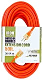 50 Ft Orange Extension Cord - 12/3 SJTW Heavy Duty Lighted Outdoor Extension Cable with 3 Prong Grounded Plug for Safety - Great for Garden & Major Appliances