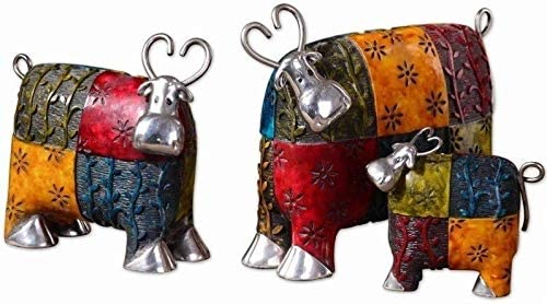 Uttermost 8 4-Inch by 9-1 2-Inch Colorful Cows Accessories, Set of 3, 8.0 L x 9.6 W x 4.0 D, Rustic