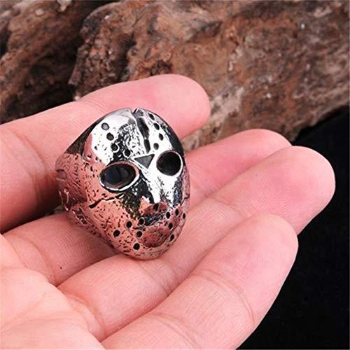 ink2055 Punk Rock Rings for Men Jason Hockey Mask Horror Skull Finger Ring Finger Jewelry Gift - Antique Silver US 7 by ink2055 (Image #1)