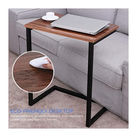Homemaxs Sofa Side End Table C Table Multiple Stand 26-Inch for Small Space - A NEAT TABLE - Perfect for holding snacks and drinks while watching TV, for holding your remote, iPad, tablet, magazines, etc. Also can be used as an end table, computer desk, bedside table and it can stand alone. C-BASE SIDE TABLE is a smart solution for SMALL SPACES. Slip the base under a sofa or chair so the table can be right next to you, or in between two people on a couch. PERFECT HEIGHT AND DURABLE - At 26.4 inches high, it's higher than a coffee table but lower than a regular table, putting everything right at arm level when you're siting. Made from Thick Square Carbon Steel Metal Tubes and Density Board, the maximum weight capacity is 45lbs. - living-room-furniture, living-room, console-tables - 51QwnRfxeLL. SS570  -