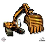 "Excavator Backhoe - 3"" Vinyl Sticker - For Car Laptop I-Pad Phone Helmet Hard Hat - Waterproof Decal"