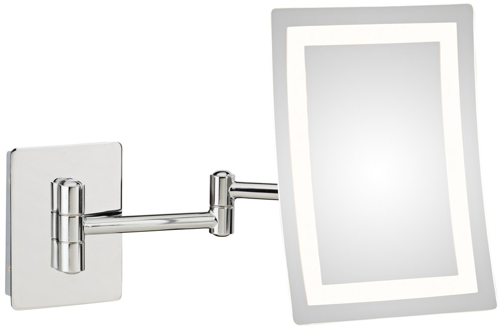 Chrome Mirror Image Single-Sided Rectangular LED Lighted Magnified Warm Make-up Mirror