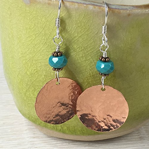 JANECKA Copper Disk and Turquoise Earrings/1.75