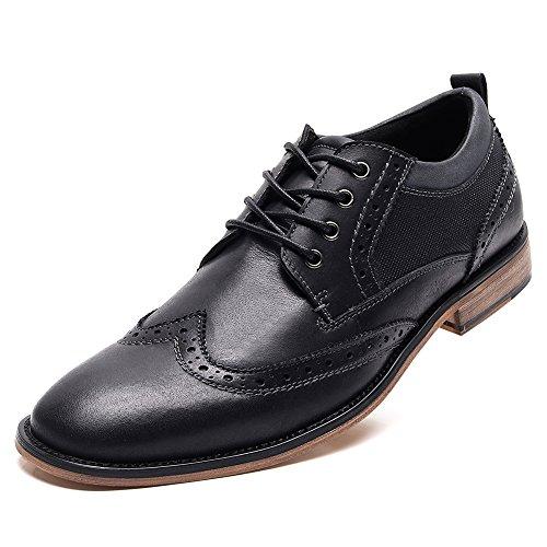rismart Homme Trimestre Brogue Robe Wingtip Cuir Chaussures de Ville à Lacets SN01999(Noir,EU43)