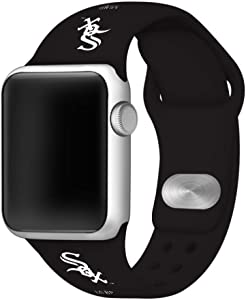 Chicago White Sox Silicone Sport Watch Band Compatible with Apple Watch (42mm/44mm - Black)