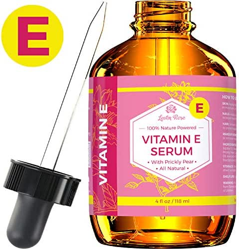 Vitamin E Serum by Leven Rose 100% Pure Organic All Natural Face, Dry Skin & Body Moisturizer Treatment, Hair & Nail Growth Oil, Pure Makeup Remover, Acne Cleansing Oil Large 4 Fl. Oz