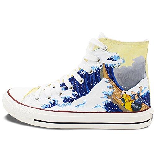 Wen Art Hand Painted Shoes Giappone Ukiyo-e Unisex High Top Sneakers Casual Di Tela