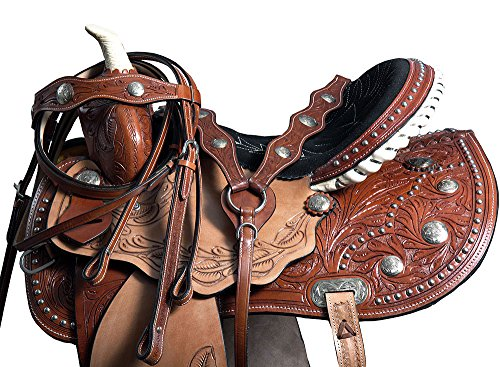 Great American Western 15″ Barrel Racing Pleasure Trail Saddle Leather W/Horse Tack Set