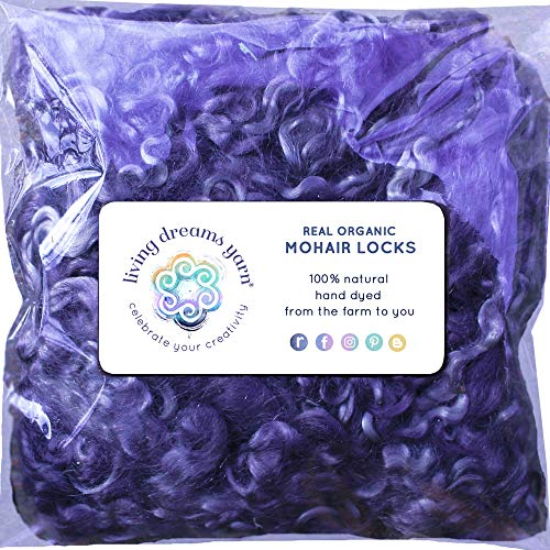 - Real Mohair Wool Locks, Organic Hand Dyed Fiber for Felting, Blending, Spinning, Knitting, Doll Hair and Embellishments. 1 Ounce Purple