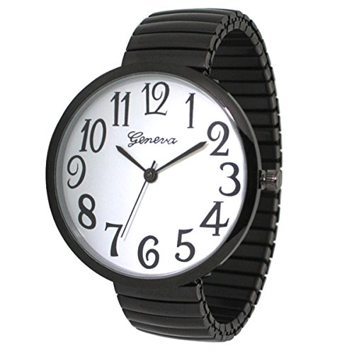 - Black Super Large Face Stretch Band Fashion Watch - Free Shipping