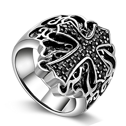 Religious Fashion Ring Cross (Sterling Silver 925 Holy Knights Cross Ring Religious Jerusalem Jewelry for Mens (11))