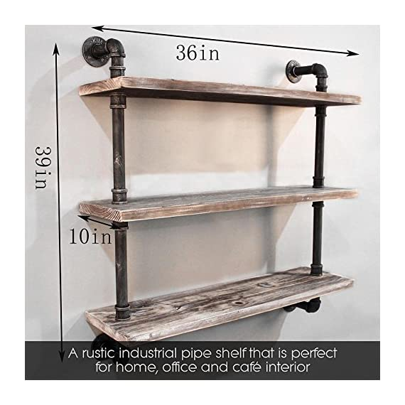 "Diwhy Industrial Pipe Shelving Bookshelf Rustic Modern Wood Ladder Storage Shelf 3 Tiers Retro Wall Mount Pipe Dia 32mm Design DIY Shelving (Black, L 36"") - 【Retro Style】:Rustic industrial pipe shelf in black finish.Iron pipes and reclaimed real wood composition in vintage style.Storage and decorations.It can also be used outdoors.Extensively anti-rust treatment. - Electroplated finish. 【Size】:Made from quality metal pipe and pine wood. Overall size: length 36in x depth 10in x height 39in.Board size: length 36in x depth 10in x thickness 1.18in.Water pipe diameter: 1.26in, Overall Product Weight:33 lb . 【Multi-functional】:The floating shelves are versatile, such as bathroom accessories, towel holder, bookcase, spice racks. - wall-shelves, living-room-furniture, living-room - 51QwoYAWkfL. SS570  -"