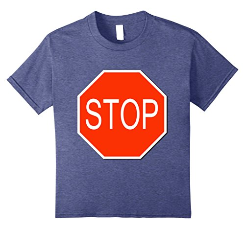 Stop Sign Costume (Kids Stop Sign Simple Easy Halloween Costume T-Shirt 8 Heather Blue)