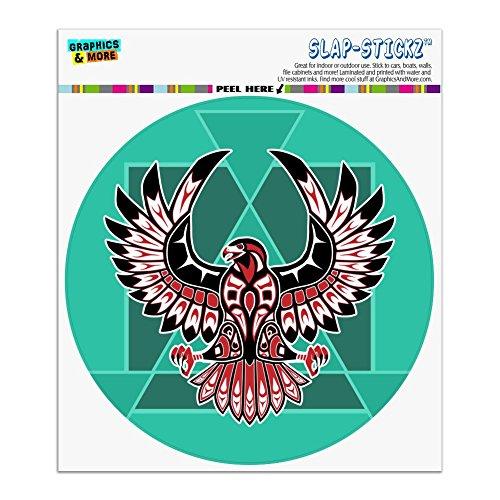 Graphics and More Black Hawk Native American Design Style Automotive Car Window Locker Circle Bumper Sticker