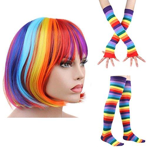 Chucky Wigs (Women's Rainbow Wave Wig Long Gloves Socks 8Layered Tail Tutu Skirt Floral Headband Set (D))