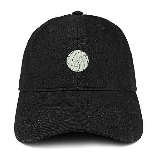 Trendy Apparel Shop Small Volleyball Quality Embroidered Low Profile Brushed Cotton Dad Hat Cap - Black ()