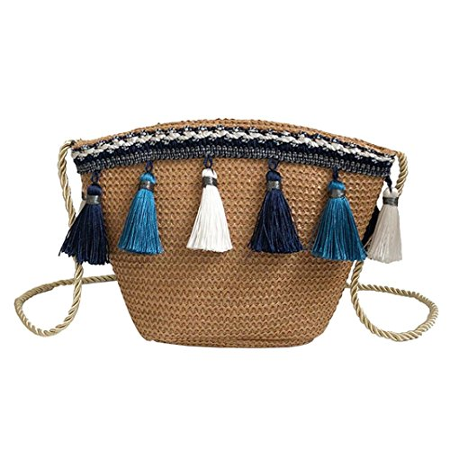 Crochet Women's Straw Messenger Bags Purse Shoulder Shybuy Bag with Summer Beach Brown Corssbody Tassel nSBWq6wY