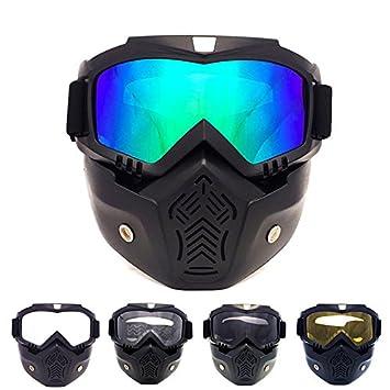 HCMAX Motorrad Brille Mit Abnehmbarer Gesichtsmaske Harley Stil Helm Nebelfest Winddicht Reiten Sonnenbrille Valentinstag Geschenk