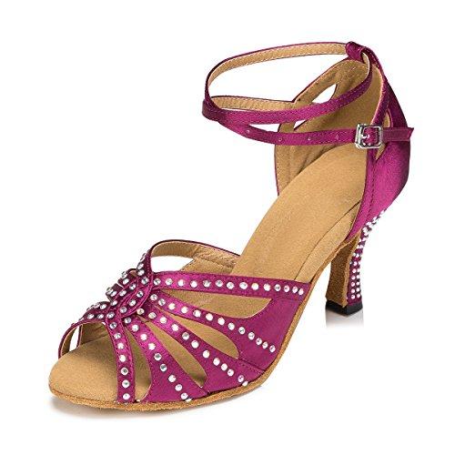 Miyoopark Womens Cinturino Alla Caviglia Cristalli Raso Latino Tango Salsa Dance Scarpe Da Sposa Sandali Viola-7,5 Cm Tacco