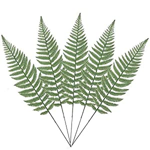 Warmter 10PCS Artificial Boston Fern Bush Plant Faux Leaves Green Plants for Home Decor 21
