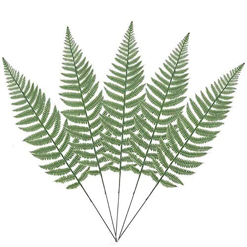 Leather Leaf Silk - Warmter 10PCS Artificial Boston Fern Bush Plant Faux Leaves Green Plants for Home Decor