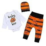 Unisex Baby Boy Girl Pumpkin Print Long Sleeve Romper+Stripe Leggings Long Pants+Hat Outfit (0-6 Months, White)