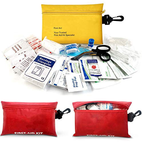 Small First Aid Kit, 100 PCS Compact Waterproof Mini Emergency Survival Kit FDA OSHA Compliant for Home Car Camping Backpacking Hiking School Office & Survival First Aid Supplies (Red) by DoCred