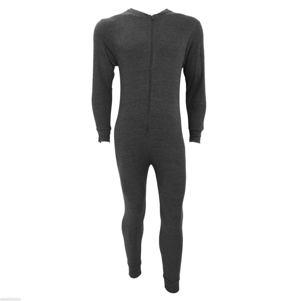 New Mens Thermal Onesie All In One Underwear Zip-up Suit Baselayer Ski S-XXL