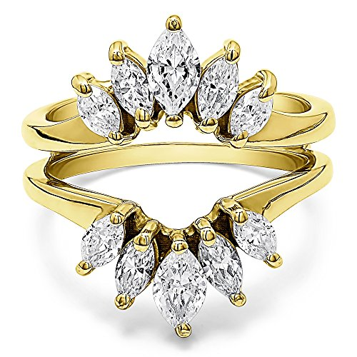 TwoBirch Marquise Ring Guard Enhancer for Pear Shaped Solitaire with 1.86 carats of Cubic Zirconia in Yellow Plated Sterling Silver