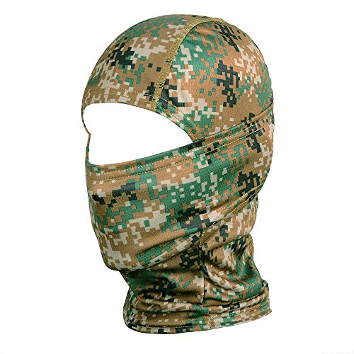 WTACTFUL Camouflage Balaclava Hood Ninja Outdoor Cycling Motorcycle Motorbike Hunting Military Tactical Airsoft Paintball Helmet Liner Gear Wind Dust Sun UV Protection Breathable Full Face Mask SR-01