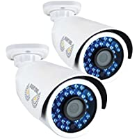 Night Owl Security, 2 Pack Add–On Analog HD 1080p HD Wired Security Bullet Cameras (White)